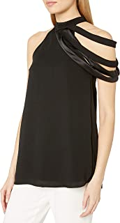Halston Heritage Women's Sleeveless High Neck Top Asymmetrical Multi Strip Detail
