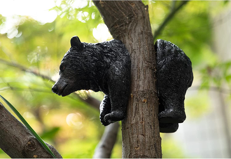 Hollypet Bear Tree Hugger Garden Decor Statue, Peeker Yard Art Decoration, Outdoor Tree Hugger Resin Sculpture