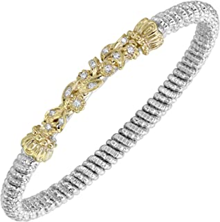 10K Yellow Gold 4mm Shiny Textured Florentine Flex Bangle 5.5 by IcedTime