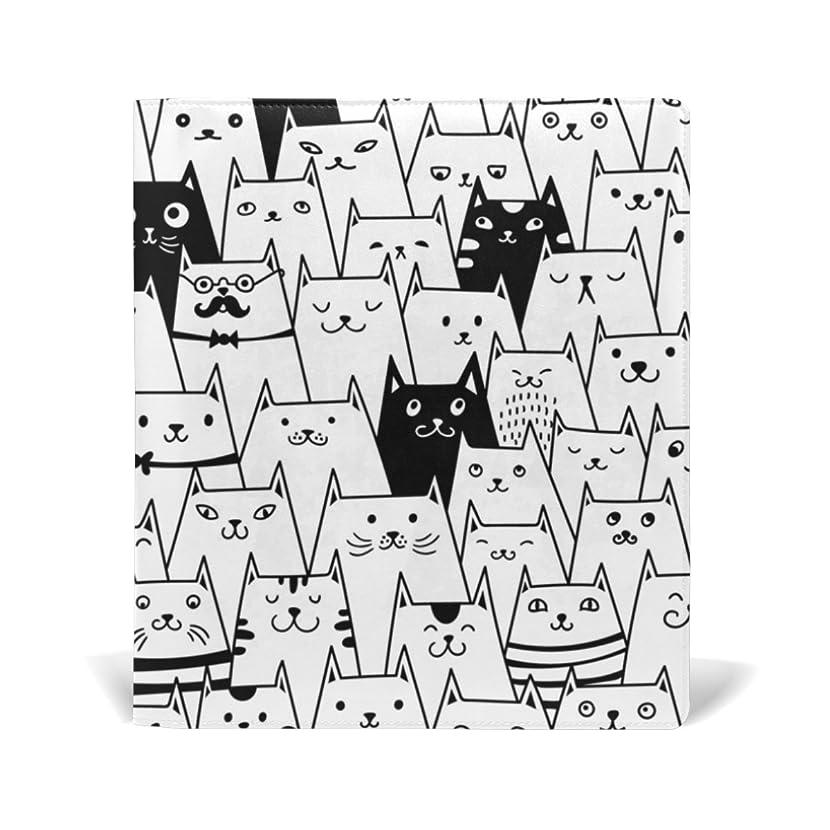 逮捕隣接するラボ旅立の店 ブックカバー レザー 文庫カバー フリーサイズ 猫いっぱい プリント 黒白 上品 おしゃれ 本好きなあなたに 学生