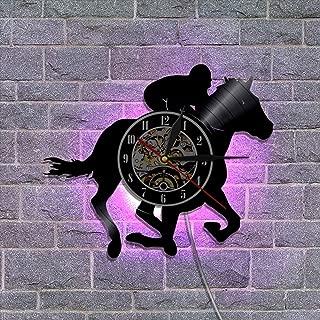 30cm ビニールレコード壁掛け時計 クリエイティブウォールデコレーションギフト リモコンナイトライトクロック-スポーツシリーズ,Horsemanship