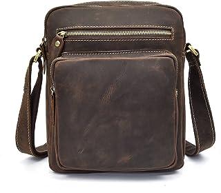LUUFAN Bolso cruzado del cuero genuino de los hombres, bolso de hombro Messenger mochila para los libros Kindle Ipad Table...