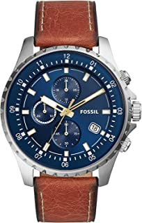 Fossil Dillinger Chronograph Watch with Brown Leather Strap for Men FS5675