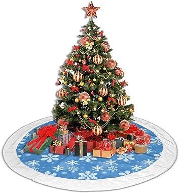 TMVFPYR Blue White Snowflakes Xmas Christmas Tree Skirt Velvet Holiday Decoration Skirts 30 Inch Small