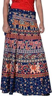 Rajvila Women's Cotton Printed Long 36 Inch Length Regular Wrap Around Skirt Colour (F_W36NT_0004)