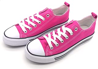 Women's Sneakers Casual Canvas Shoes, Low Top Lace up Cap Toe Flats (Order One Size Up) Pink Size: 10
