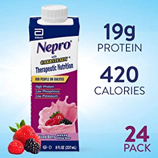 Nepro Nutrition Shake for People on Dialysis, with 19 Grams of Protein, 420 Calories, Mixed Berry, 8 fl oz, 24 Count