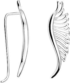 Pendientes Mujer Alas de Angel Plumas Plata de Ley 20705