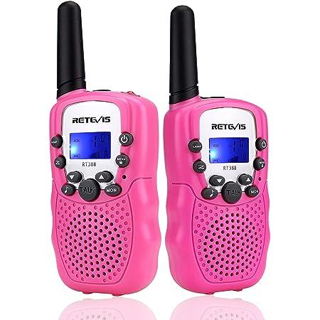 Retevis RT388 Walkie Talkie Niños Niñas,8 Canales LCD Pantalla Función VOX 10 Tonos de llamada Linterna Incorporado Juguete Regalo para cámping Vacaciones actividades escolares (Rosa, 1 Par)