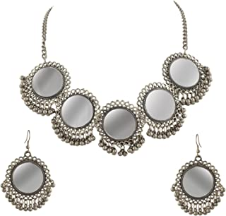 Zephyrr Fashion Afghani Gold Beaded Pendant Necklace Earrings Set with Mirrors for Girls and Women