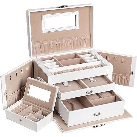 SONGMICS Boîte à bijoux, Organisateur à bijoux avec 2 tiroirs, Coffre à bijoux verrouillable avec miroir, Boîte de voyage portable, doublure en velours, idée cadeau, Blanc JBC121W