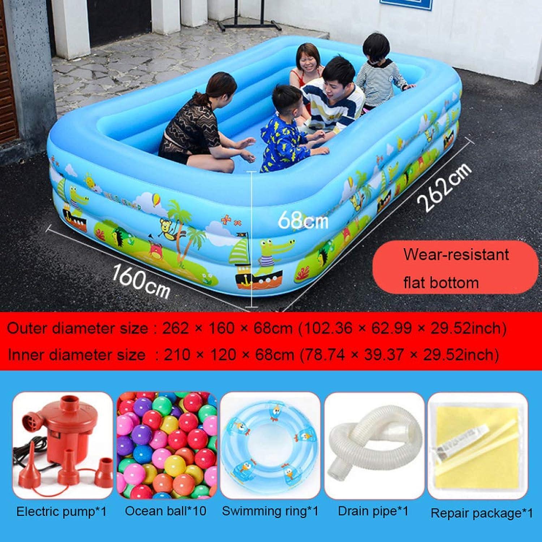QIAOY Aufblasbarer Pool 262 × 160 × 68 cm Mit Elektrischer Luftpumpe Patch Reparieren Aufblasbarer Baby-Schwimmring Easy Set Pool Wasserspielzentrum Für Das Sommerfest