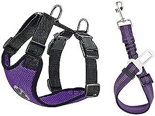 Lukovee Dog Safety Vest Harness with Seatbelt, Dog Car Harness Seat Belt Adjustable Pet Harnesses Double Breathable Mesh F...
