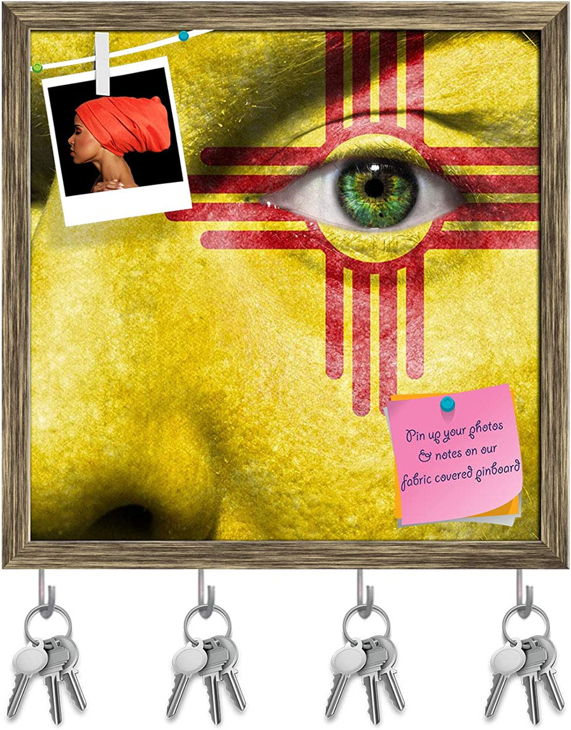 Artzfolio New Mexico Flag Painted On Face Key Holder Hooks   Notice Pin Board   Antique golden Frame 20 X 20Inch