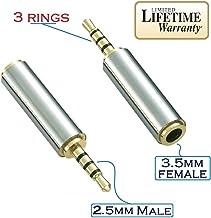 Josi Minea 2.5mm Male to 3.5mm Female Audio Adapter Premium Quality Converter Headphone Earphone Headset 3 Ring Jack - Stereo or Mono