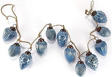 HEITMANN DECO Noël - Guirlande de Boules en Verre Bleu en Forme de Pommes de pin - Guirlande de Sapin de Noël décorative - dé