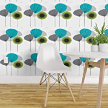 Spoonflower Non-Pasted Wallpaper, Midcentury Modern Aqua Mid Century Vintage Seed Pods Retro 1950 Atomic Era Print, Swatch 12in x 24in