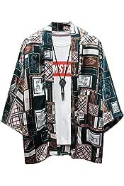 GRMO Mens Japanese Plus Size Kimono Print Jackets Cardigan Coat