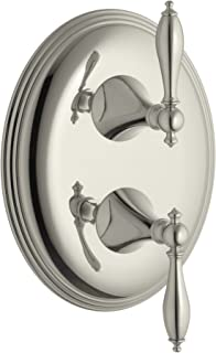 KOHLER K-T10302-4M-SN Finial Traditional Stacked Valve Trim with Lever Handles, Valve Not Included, Vibrant Polished Nickel