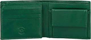 Nuvola Pelle Small Mens Wallet with Coin Pocket in Genuine Leather Inner Secret Zip and Card Slots Green