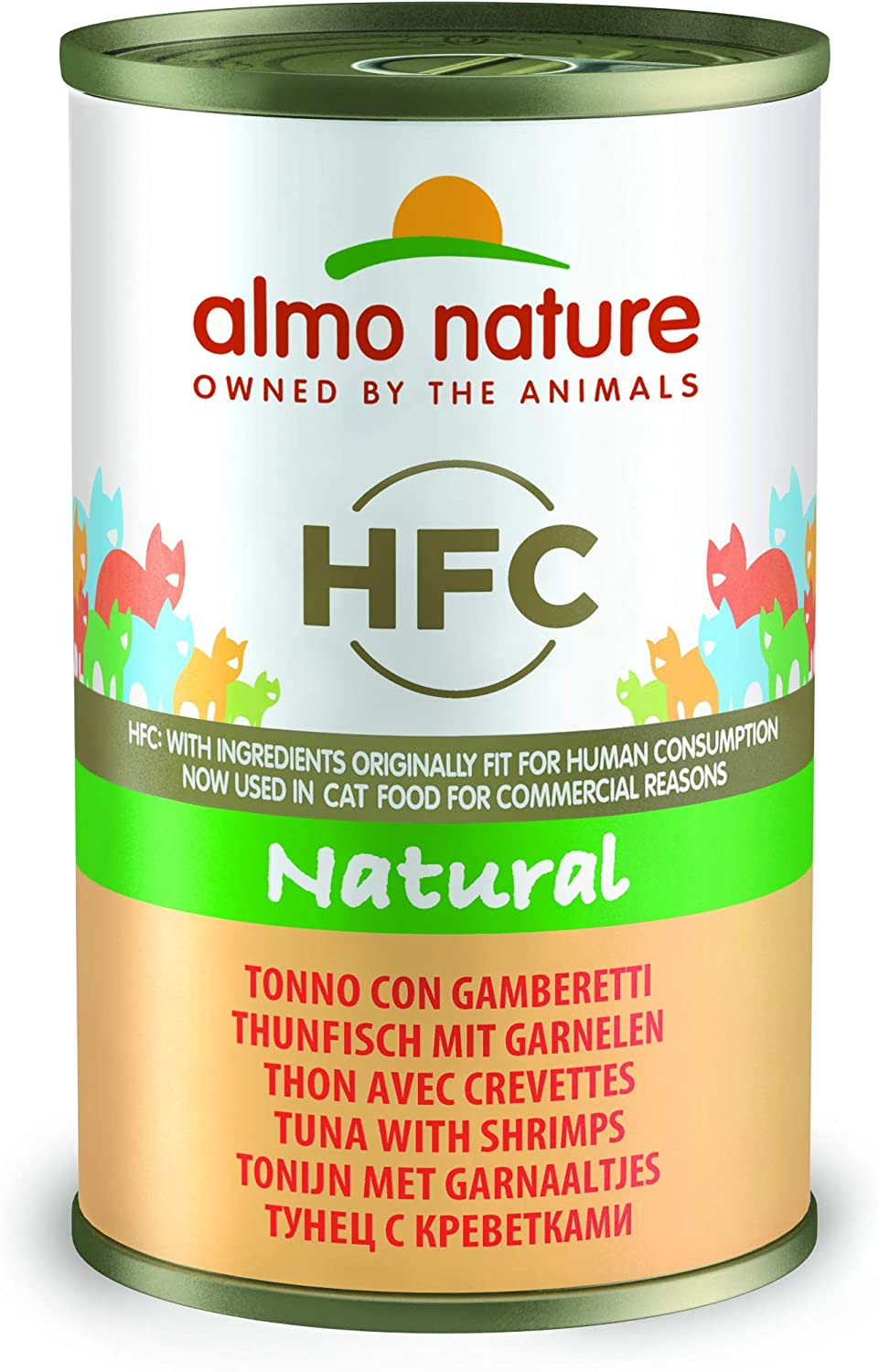 Almo Nature HFC Natural  Wet Cat Food with Tuna and Shrimps (Pack of 24 x 140g Tins)