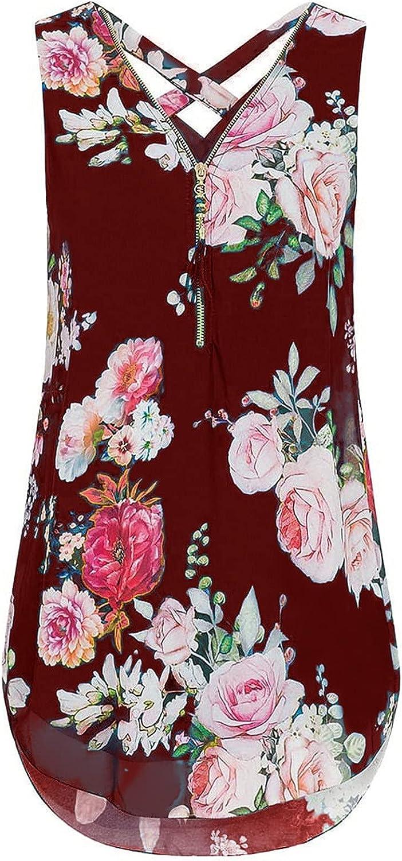BEUU Women's V Neck Chiffon Blouse Half Zip up Casual Tunic Shirts Sleeveless Floral Print Side Slit Flowy Tank Tops