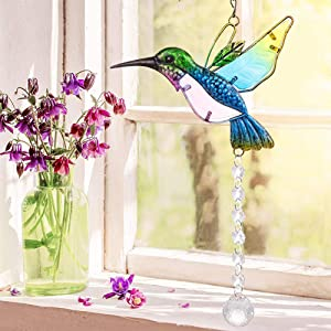 Stained Glass Window Hangings Hummingbird Suncatcher Crystal Hanging Crystals Window Suncatcher Lndoor and Outdoor Hanging Decorations Crystal Hummingbird Garden Decoration Gift (Blue, A-Hummingbird)