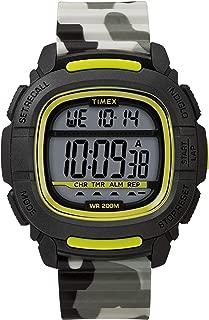 Timex Men's BST.47 47mm Silicone Strap Digital Watch TW5M26600ZA (One Size, Black/Camo)