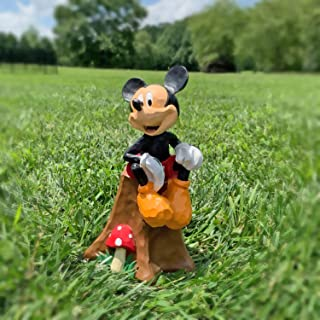 The Galway Company Mickey Mouse Sitting on Stump with Flowers. Disney Outdoor Garden Statue. Large 10 Inches, Hand-Painted, Official Disney Licensed Product