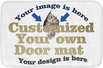 Personalized Customized Your OWN Design Door Mat Entrance Mat 23.6 x 15.7 Inch -Kitchen Dining Living Hallway Bathroom Pet Cat Dog Feeding Mat Pad Entry Rugs with Non Slip Backing Washable