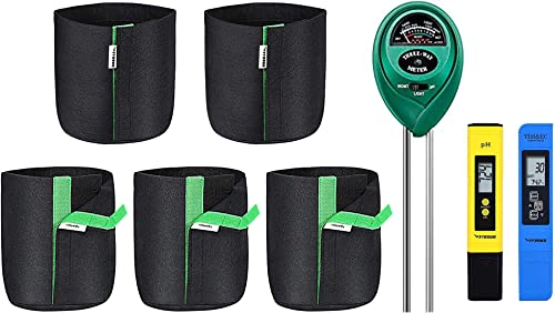 new arrival VIVOSUN PH Meter, TDS high quality and EC Meter, Soil Tester and 5-Pack 1 Gallon 2021 Grow Bags online