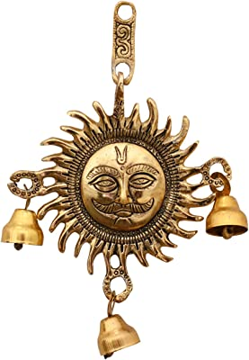 Collectible India Metal Surya Dev Wall Hanging Showpiece Decorative Sun Idol Face Vastu Statue for Home Offices Decor Entrance (Size 8 x 5.5 Inches)