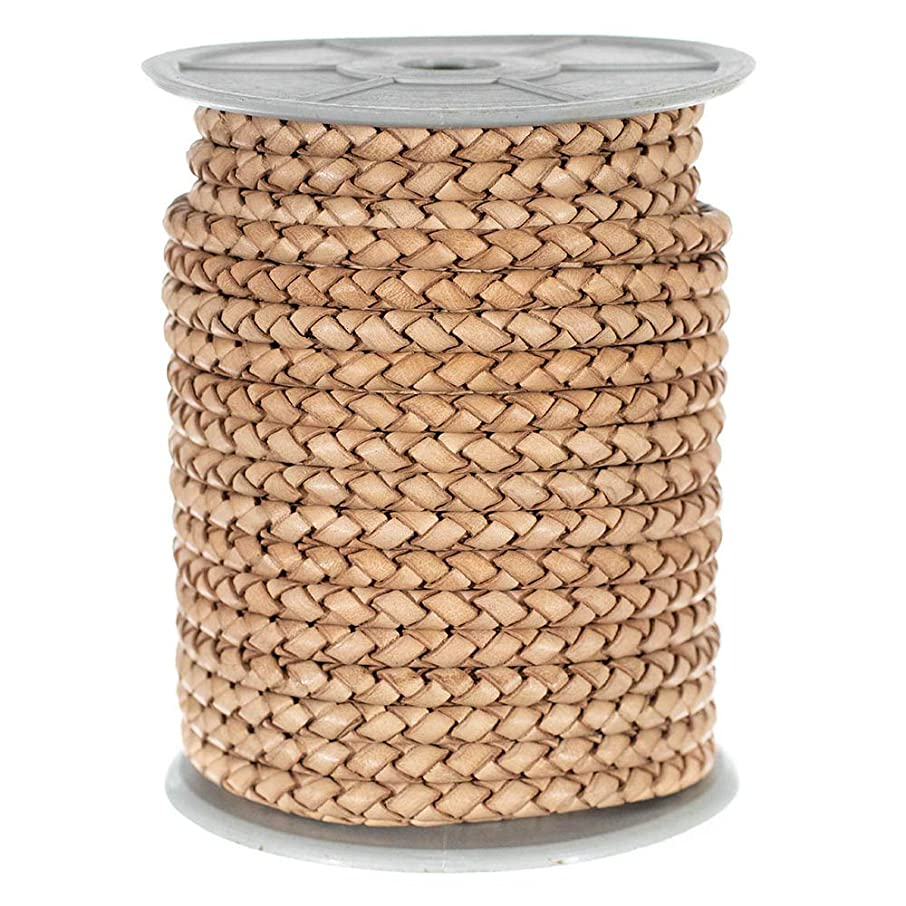 1 Roll Round Braided Leather Cord - Folded Bolo PU Braid- Use for Necklace, Bracelets, Jewelry, Bolo Tie, and More (Natural, 5mm x 5 Yards)