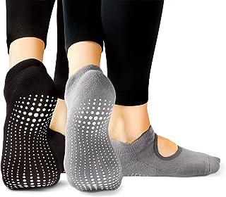 Tucketts Chaussettes de Yoga pour Femmes Chaussettes de Sport pour Le Pilates Chaussettes Antid/érapantes la Barre au Sol et Le Ballet Chaussettes sans Orteils Adh/érentes