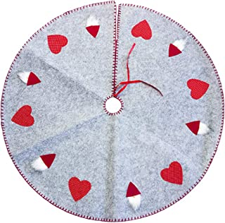 BESTOYARD Christmas Tree Skirt Holiday Tree Ornaments Embroidered Tree Mat Cover for Party (Grey)