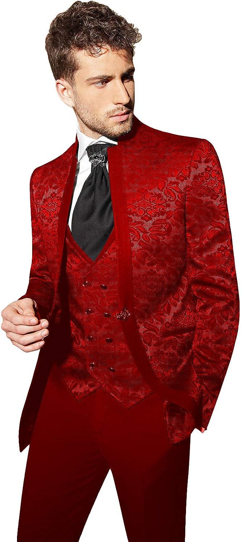 Sxfashbrd Mens Suits Jacquard Blazer 3 Piece Slim Fit Suit Tuxedo Business Groomsman Jacket for Wedding Formal Coats