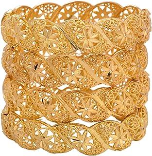 4 قطعة 24 كيلو الذهب مطلي الإسورة الزهور سوار الجوف نمط سوار المرأة عزم دوران الإسورة سوار العروس