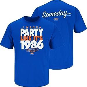 Smack Apparel New York Baseball Fans. I Wanna Party Like It's 1986. Royal Blue T Shirt (Sm-5X)