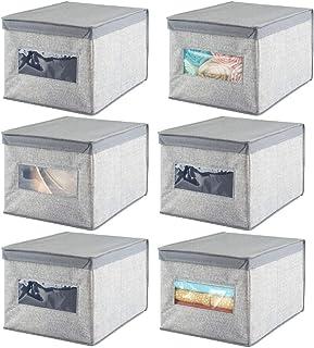 mDesign boîte de rangement empilable en fibre synthétique (lot de 6) – caisse de rangement avec couvercle et fenêtre pour ...