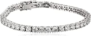 Platinum or Gold Plated Sterling Silver Round-Cut Tennis Bracelet made with Swarovski Zirconia