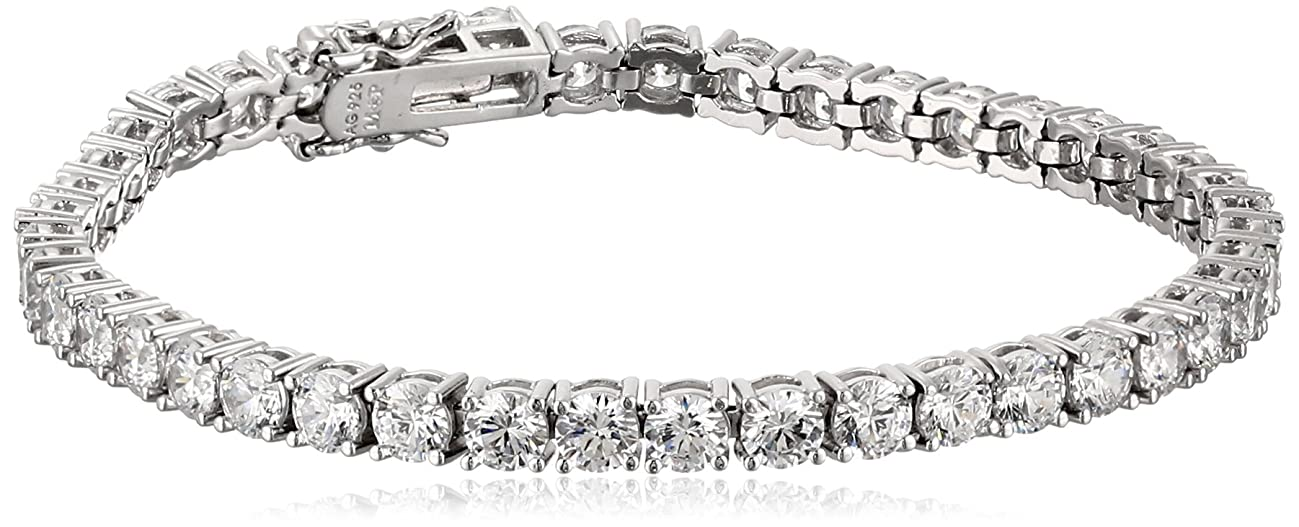 Plated Sterling Silver Round-Cut Tennis Bracelet made with Swarovski Zirconia