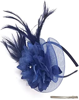 Z&X Mesh Sinamay Fascinators for Women Girls Tea Party Fancy Feather Flower Cocktail Wedding Derby Hat with Headband Clip