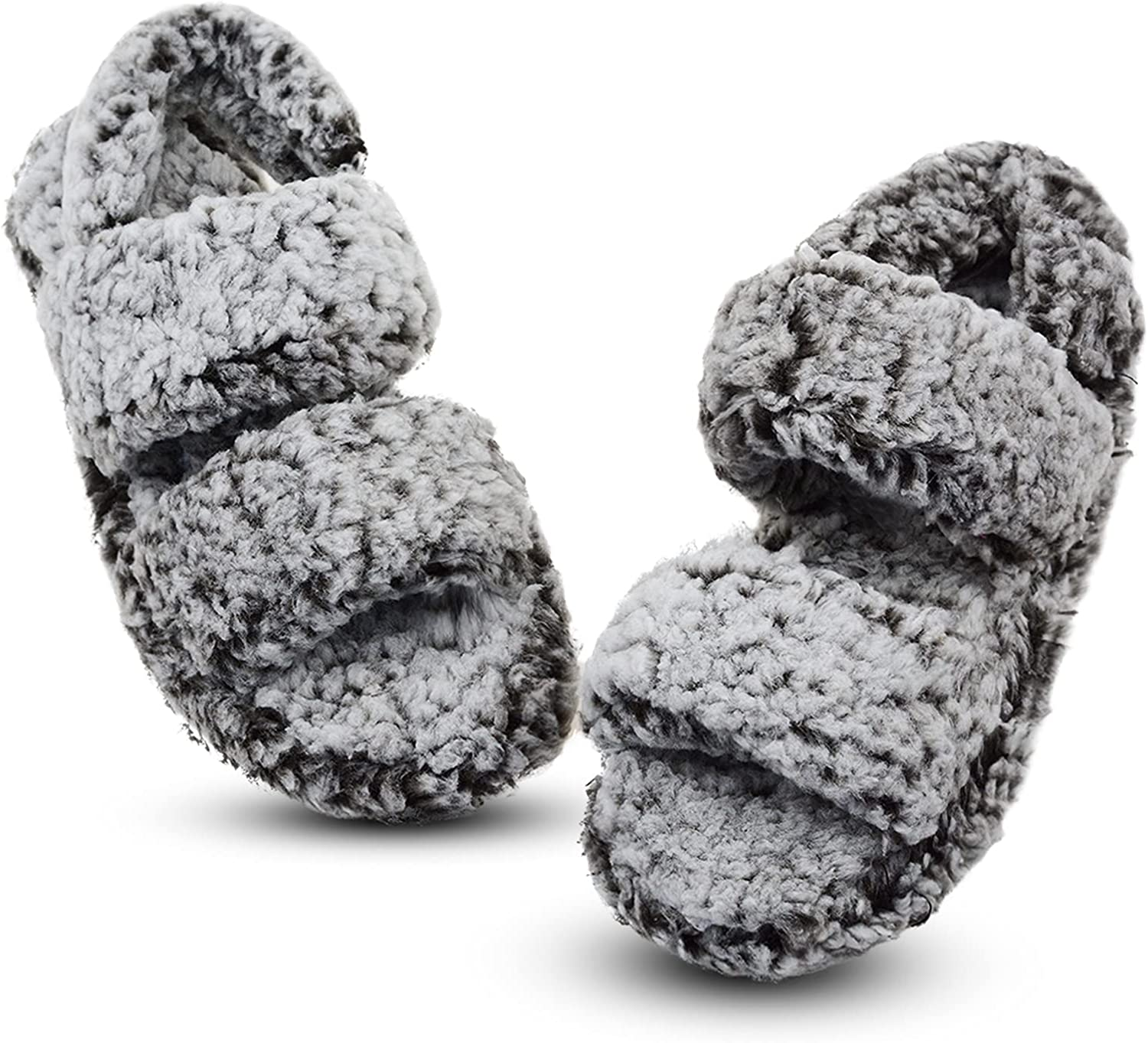 Vonair Fuzzy Slippers Women Open Toe Indoor and Outdoor Memory Foam House Slipper with Straps