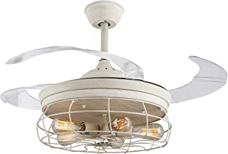 45  Industrial Edison Bulbs Ceiling Fans Wire Caged Acrylic Retractable Blades Dimmable and Remote Control, Matte Aged White Finish
