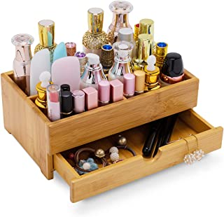 GOBAM Makeup Storage Drawer Organizer Bamboo Wood Cosmetic Display Box, Large Capacity Bathroom Beauty Countertop Organize...