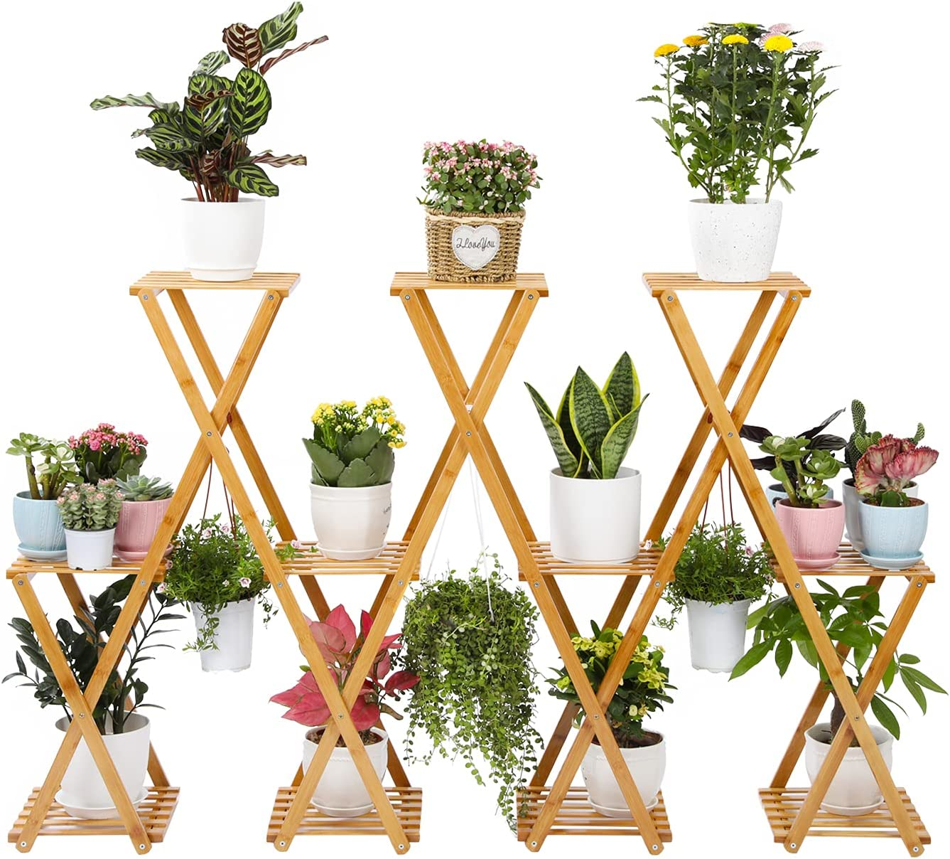Foldable Bamboo Plant Stand Large 20 Cheap bargain Outd Pots Capacity Large-scale sale Indoor
