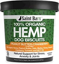 100% Organic hemp Dog Biscuits - Made in USA - Aids Stress, Anxiety, Joints, Hips, Barking, Separation and More - Turmeric...