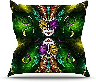 "KESS InHouse MM3026AOP03 18 x 18-Inch ""Mandie Manzano Topsy Turvy"" Outdoor Throw Cushion - Multi-Colour"