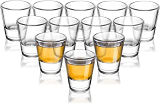 ELIVIA Shot Glass Set with Heavy Base, 1.2 oz Clear Glasses for Whiskey and Liqueurs (12 pack) - JM01