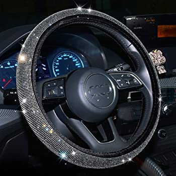 Universal Fit 15 Inch Anti-Slip Wheel Protector Gemstone Black ZHOL Diamond Cover All Surfaces,Steering Wheel Cover with Bling Bling Crystal Rhinestones